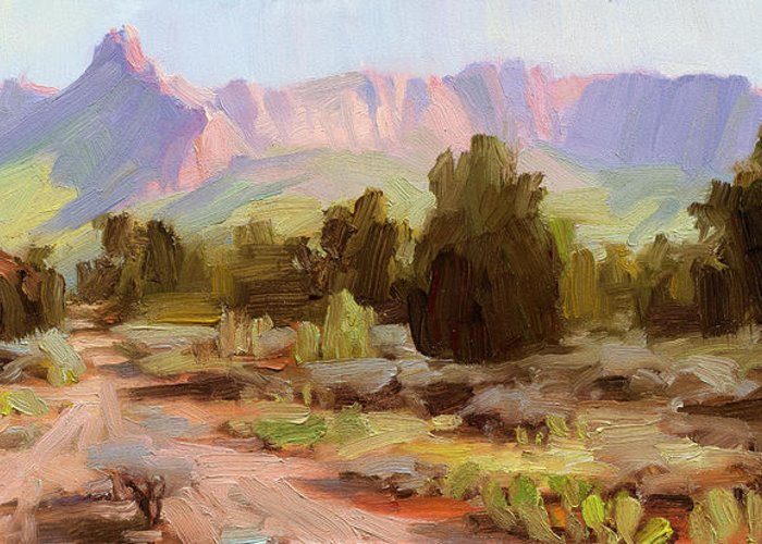 Zion Greeting Card featuring the painting On The Chinle Trail by Steve Henderson