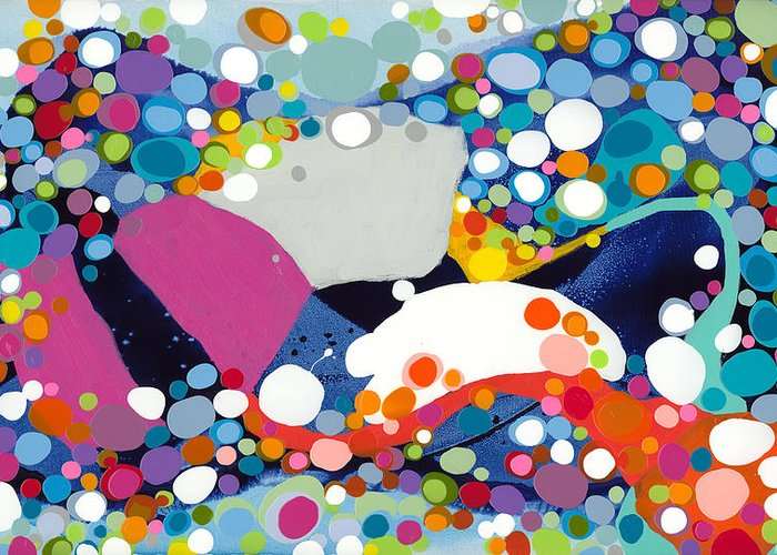 Abstract Greeting Card featuring the painting On The Up And Up by Claire Desjardins