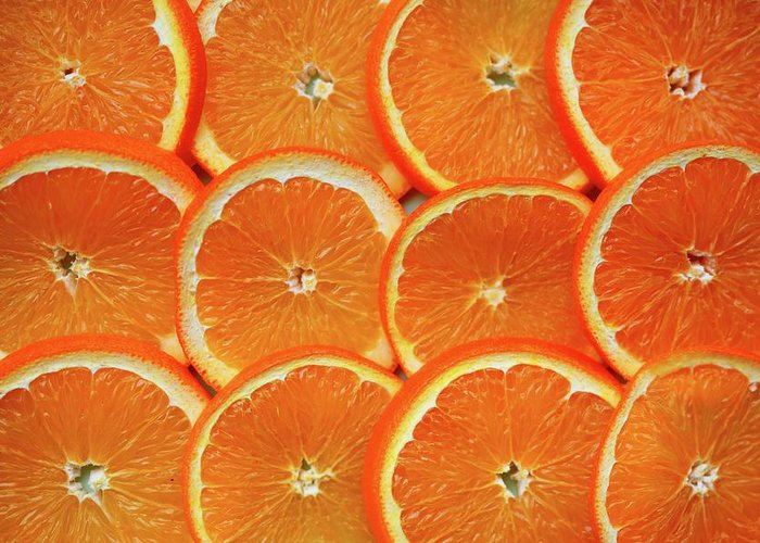 Orange Color Greeting Card featuring the photograph Orange Fruit Slices by D. Sharon Pruitt Pink Sherbet Photography