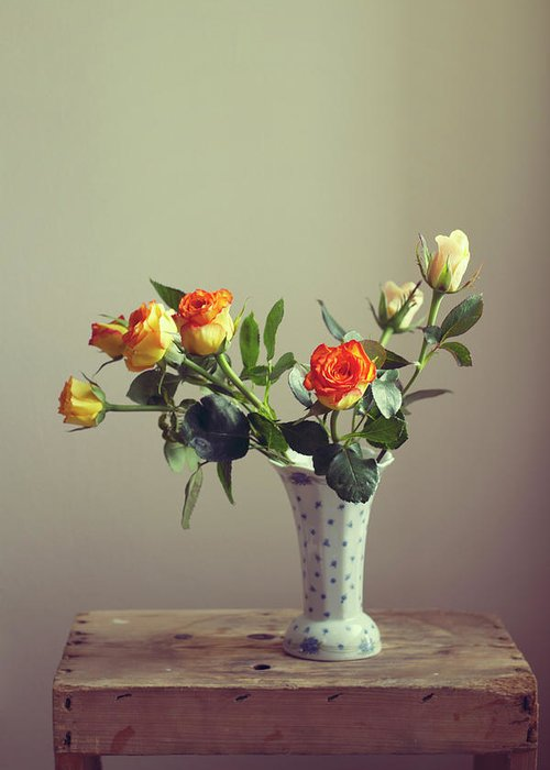 Orange Color Greeting Card featuring the photograph Orange Roses In Vintage Vase by Copyright Anna Nemoy(xaomena)