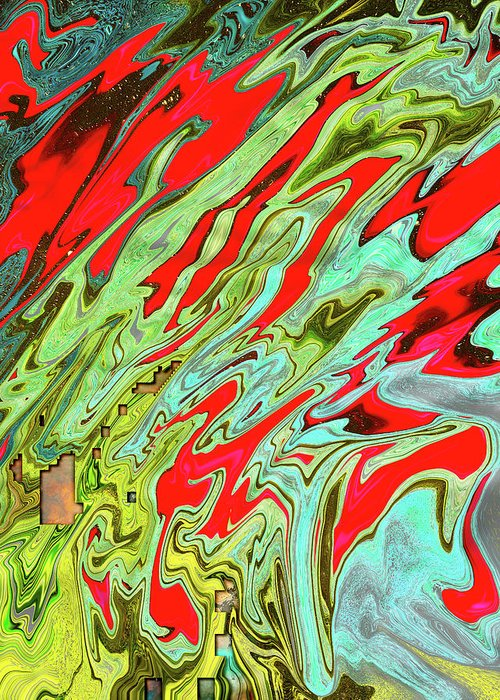 Abstract Greeting Card featuring the digital art Orionian Watermelon Juice by Jack Entropy