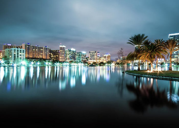 Outdoors Greeting Card featuring the photograph Orlando Night Cityscape by Sky Noir Photography By Bill Dickinson