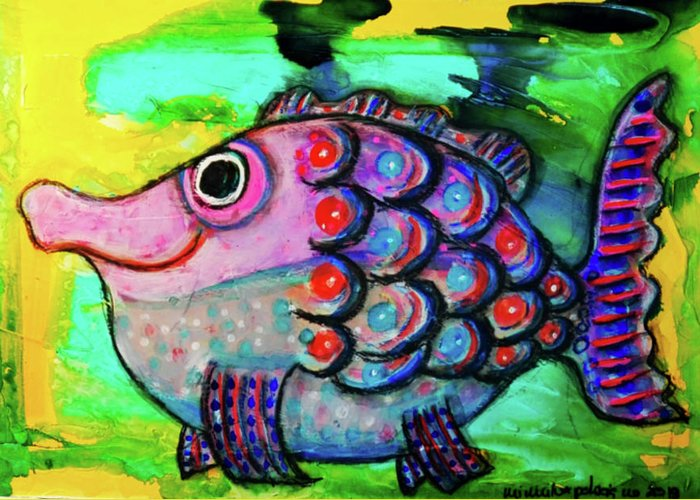 Fish Greeting Card featuring the mixed media Oscar The Nosefish by Mimulux patricia No