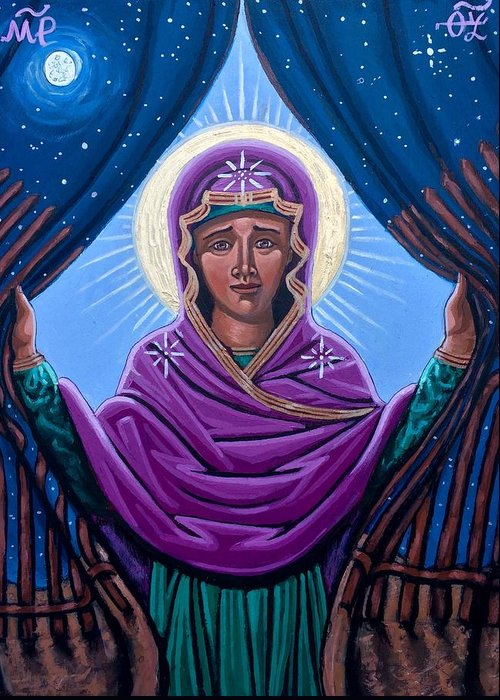 Greeting Card featuring the painting Our Lady Who Removes Walls by Kelly Latimore