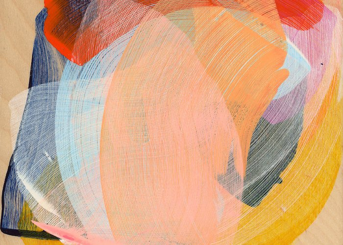 Abstract Greeting Card featuring the painting Out Of The Blue 02 by Claire Desjardins