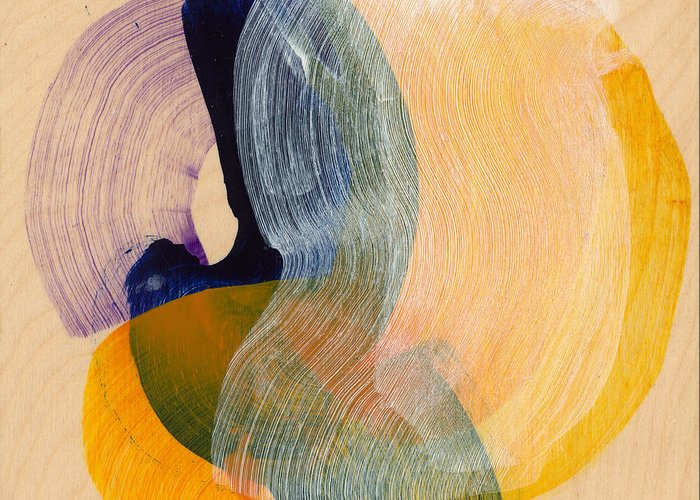 Abstract Greeting Card featuring the painting Out Of The Blue 04 by Claire Desjardins