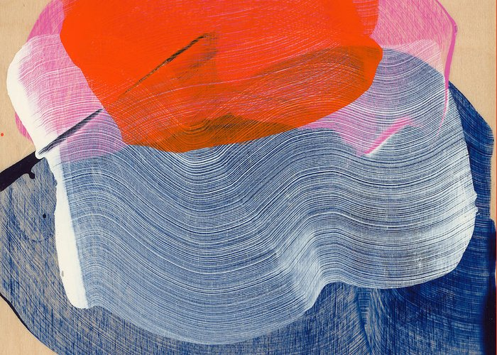 Abstract Greeting Card featuring the painting Out Of The Blue 08 by Claire Desjardins