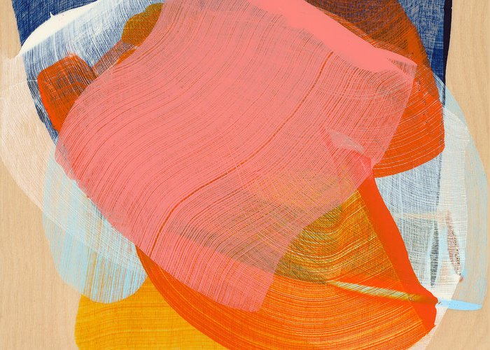 Abstract Greeting Card featuring the painting Out Of The Blue 10 by Claire Desjardins
