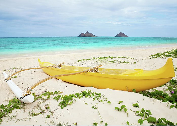 Scenics Greeting Card featuring the photograph Outrigger Canoe Lanikai Beach by M Swiet Productions
