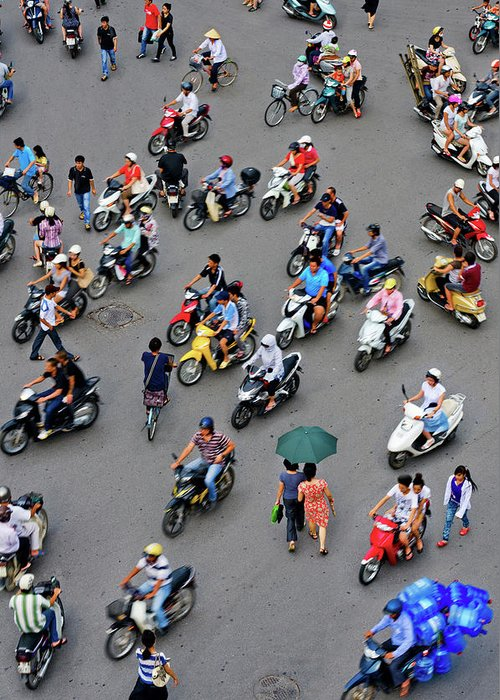People Greeting Card featuring the photograph Overhead View Of Motorbike Traffic by Rwp Uk