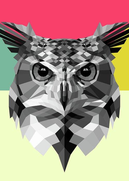Owl Greeting Card featuring the digital art Owl by Naxart Studio