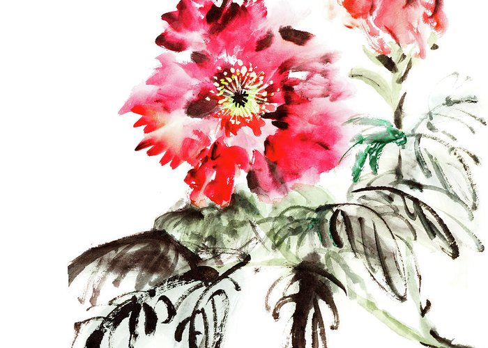 Chinese Culture Greeting Card featuring the digital art Paeonia Flowers by Vii-photo