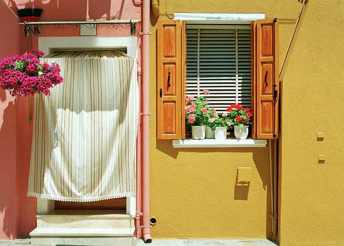 Hanging Greeting Card featuring the photograph Painted House In Burano by Terraxplorer