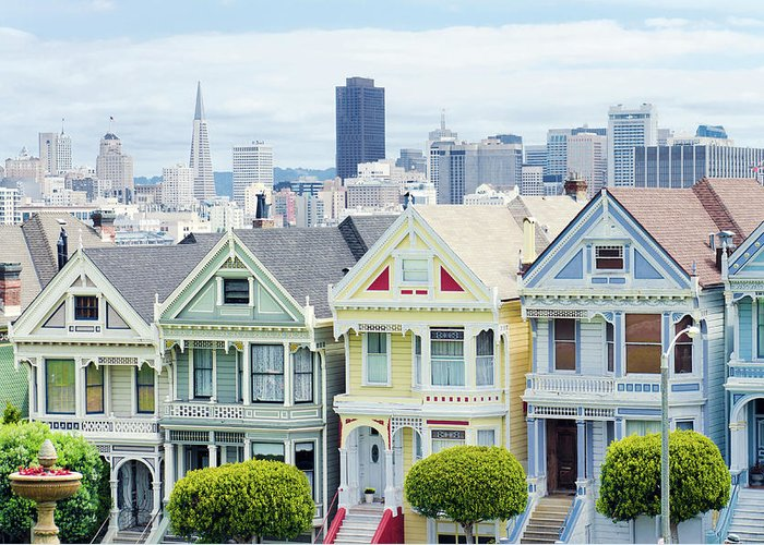In A Row Greeting Card featuring the photograph Painted Ladies Houses Next To Alamo by Gregobagel