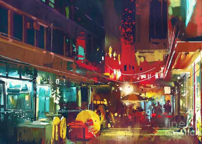 City Greeting Card featuring the digital art Painting Of Colorful Building And City by Tithi Luadthong