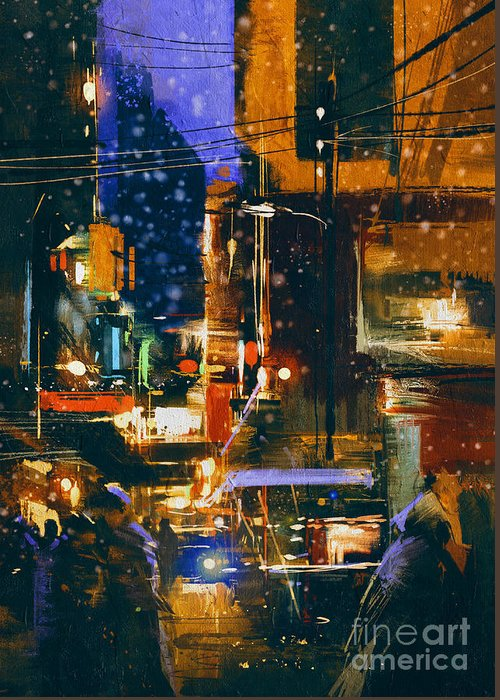 City Greeting Card featuring the digital art Painting Of Night City Street In by Tithi Luadthong
