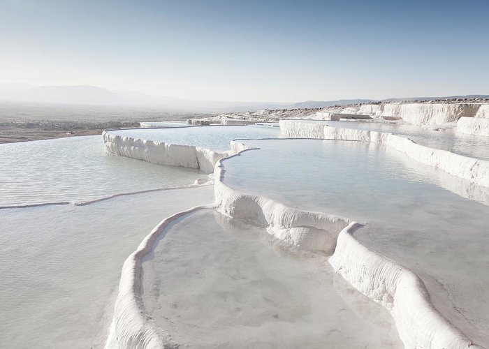 Mineral Greeting Card featuring the photograph Pamukkale by Phooey