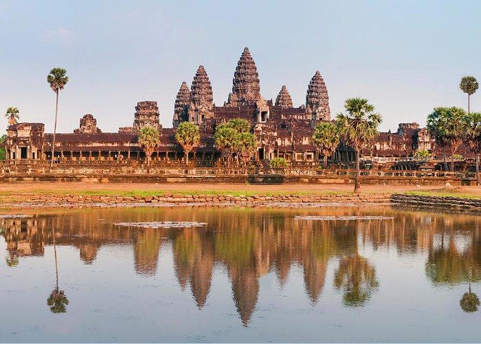 Hinduism Greeting Card featuring the photograph Panorama Of Angkor Wat Cambodia Ruins by Leezsnow