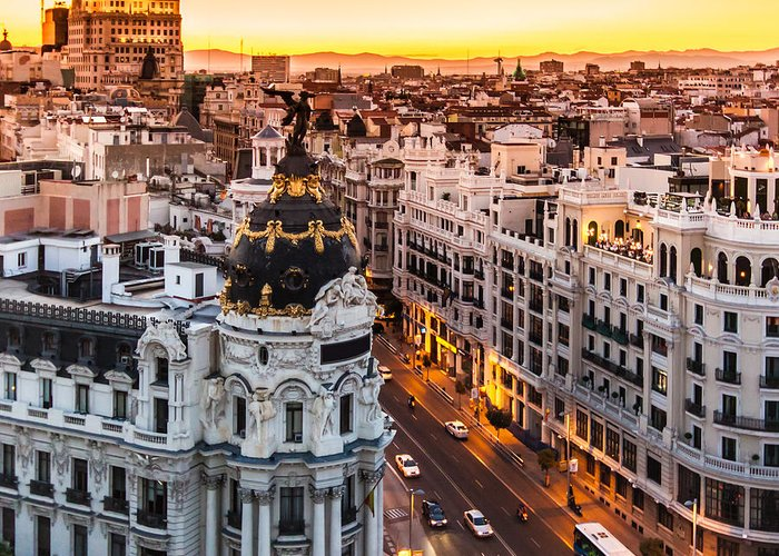 Spain Greeting Card featuring the photograph Panoramic Aerial View Of Gran Via, Main by Matej Kastelic