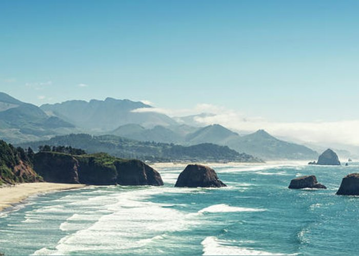 Scenics Greeting Card featuring the photograph Panoramic Shot Of Cannon Beach, Oregon by Kativ