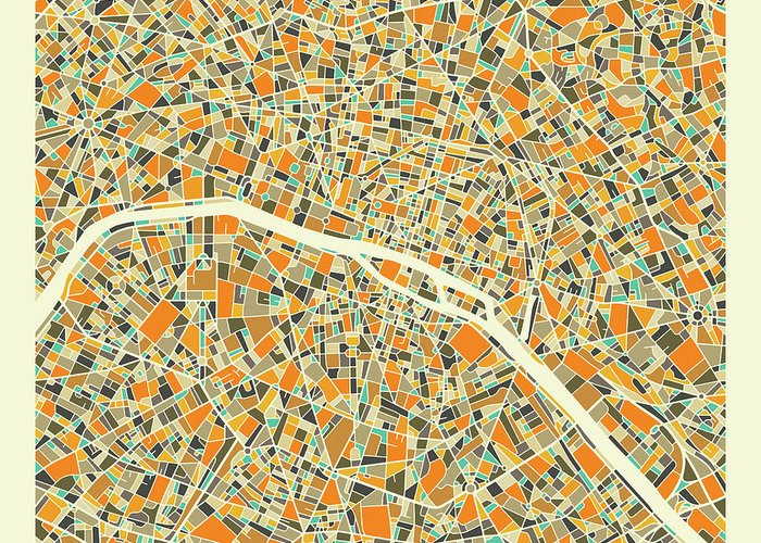 Paris City Map Greeting Card featuring the digital art Paris Map 1 by Jazzberry Blue