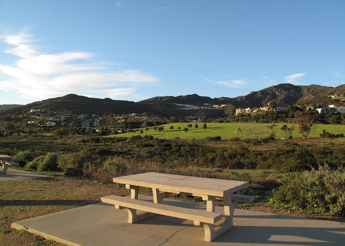 Tranquility Greeting Card featuring the photograph Park Bench In Malibu by Marianna Sulic