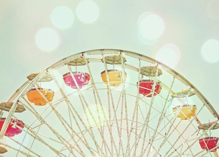 Hanging Greeting Card featuring the photograph Pastel Ferris Wheel by Joyhey