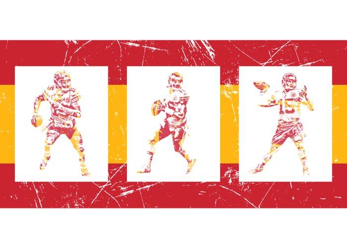 6968d2575d1 Patrick Mahomes Greeting Card featuring the mixed media Patrick Mahomes  Kansas City Chiefs Pixel Art T