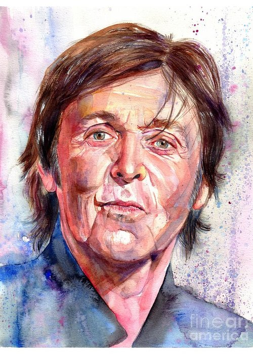 Paul Greeting Card featuring the painting Paul McCartney Watercolor by Suzann Sines
