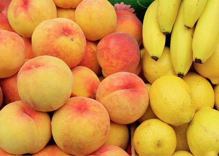 Retail Greeting Card featuring the photograph Peaches, Lemons And Bananas At Farmers by Travelif