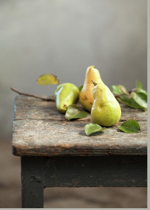 Vitamin Greeting Card featuring the photograph Pears by Sanjeri