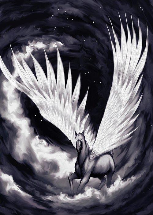 Pegasus Greeting Card featuring the painting Pegasus by Sami Matilainen