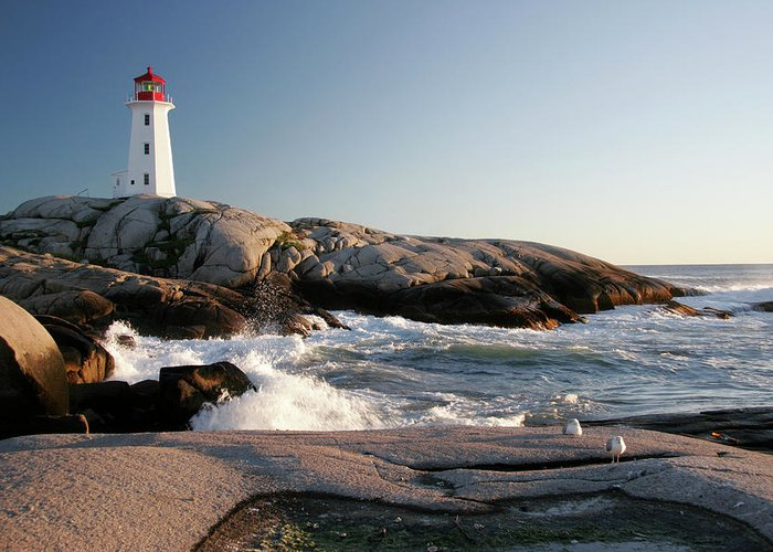 Water's Edge Greeting Card featuring the photograph Peggys Cove Lighthouse & Waves by Cworthy