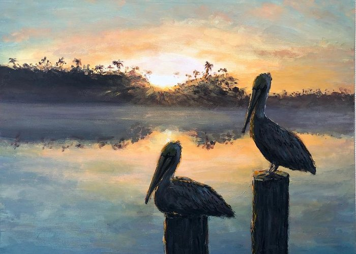 Pelican Greeting Card featuring the painting Pelican Sunrise by Paul Emig