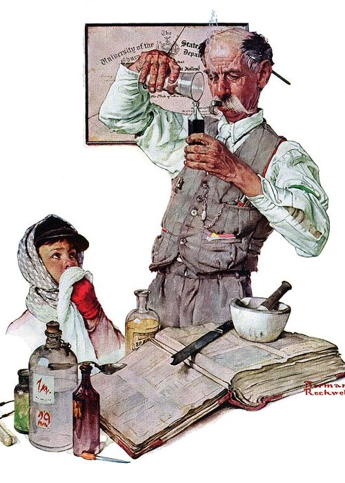Boy Greeting Card featuring the drawing Pharmacist by Norman Rockwell