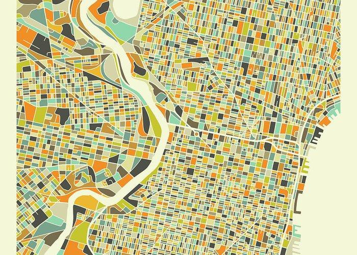 Philadelphia Map Greeting Card featuring the digital art Philadelphia Map 1 by Jazzberry Blue