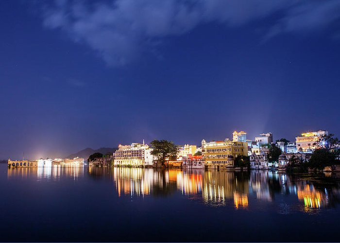 Tranquility Greeting Card featuring the photograph Pichola Lake Night View by Greenlin