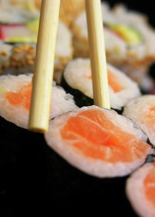 Japanese Food Greeting Card featuring the photograph Picking Some Sushi by Caracterdesign