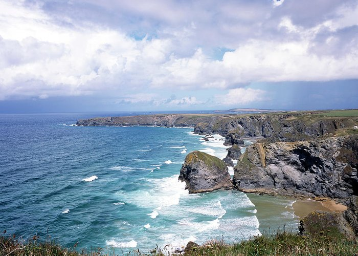 Water's Edge Greeting Card featuring the photograph Picturesque Cornwall - Bedruthan by Chrisat