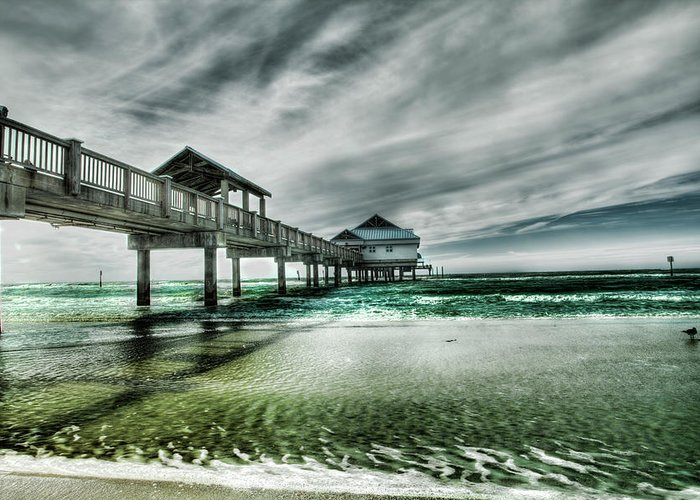 Water's Edge Greeting Card featuring the photograph Pier by Chumbley Photography