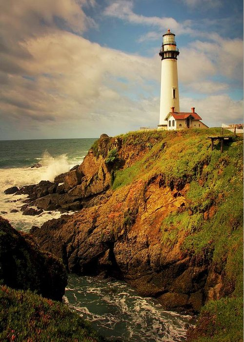 Pigeon Point Light House Greeting Card featuring the photograph Pigeon Point Light Station, California by Zayne Diamond Photographic