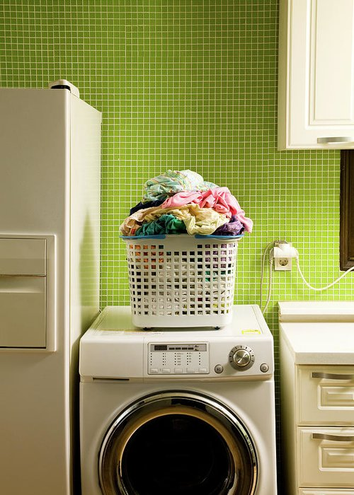 Washing Machine Greeting Card featuring the photograph Pile Of Laundry On Washing Machine by Jae Rew