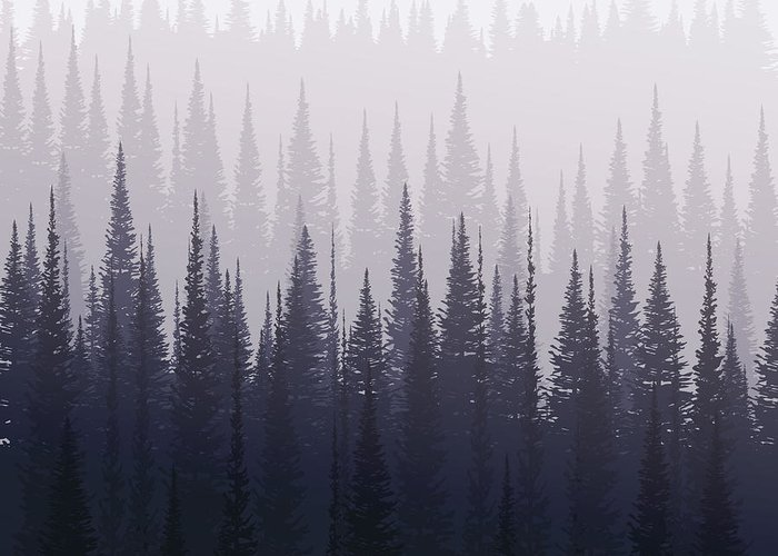 Forest Greeting Card featuring the digital art Pine Forest In Winter. Nature Landscape by Kobsoft