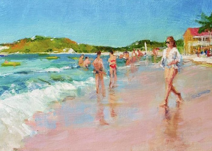 Sun Greeting Card featuring the painting Pineapple Beach, Antigua by Peter Salwen