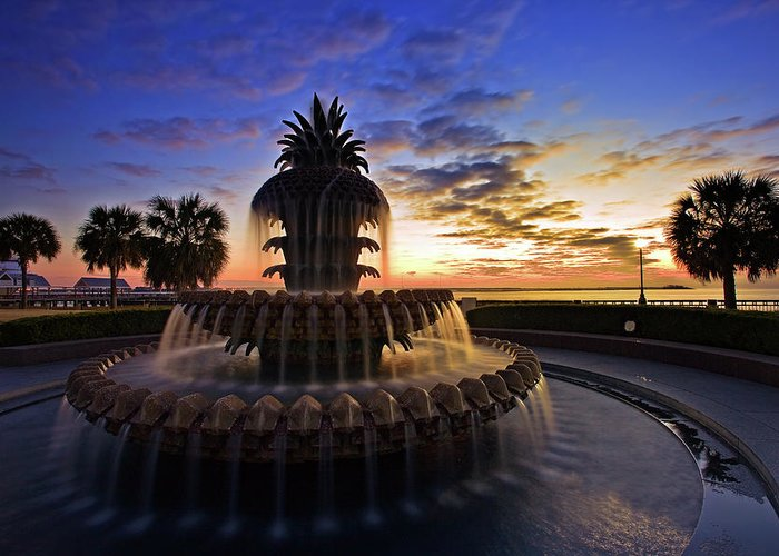 Tranquility Greeting Card featuring the photograph Pineapple Fountain In Charleston by Sam Antonio Photography