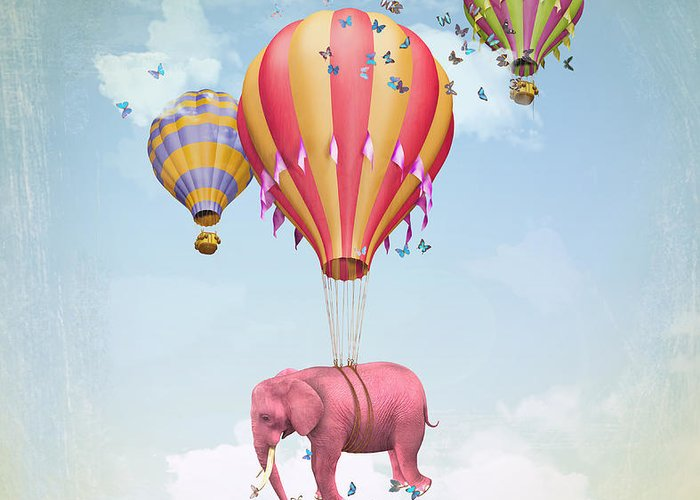 Magic Greeting Card featuring the digital art Pink Elephant In The Sky With Balloons by Ganna Demchenko