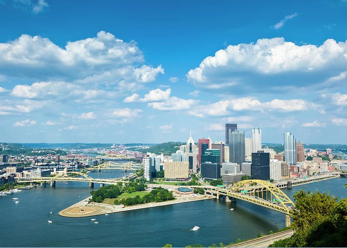 Arch Greeting Card featuring the photograph Pittsburgh, Pennsylvania Skyline With by Drnadig