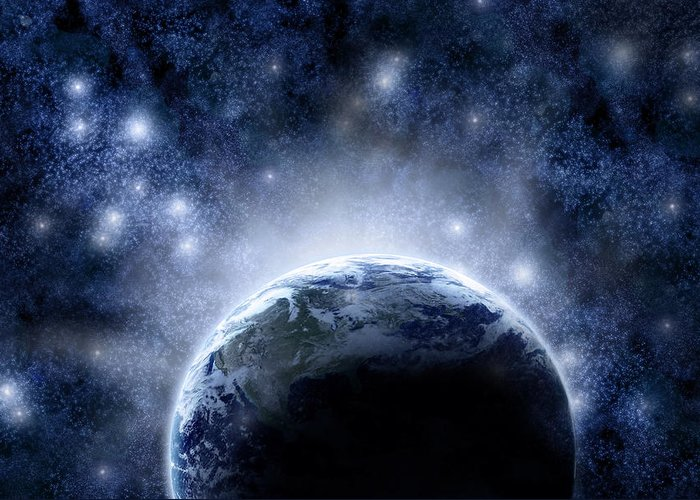 Outdoors Greeting Card featuring the digital art Planet Earth And Stars by Nicholas Monu