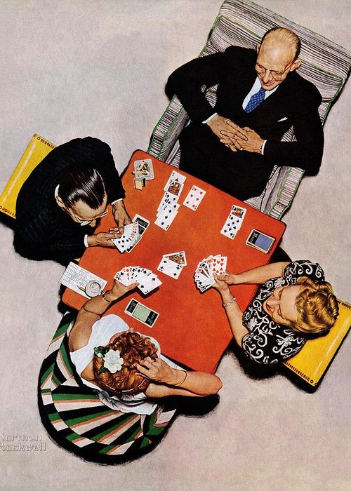 Bridge Greeting Card featuring the drawing Playing Cards by Norman Rockwell