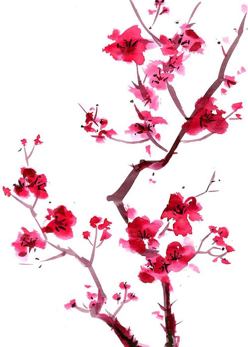 Watercolor Painting Greeting Card featuring the digital art Plum Blossom Painting by Kaligraf